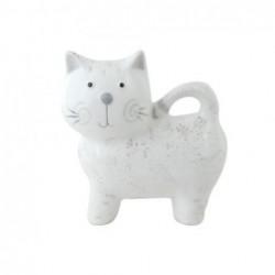 Figura Decorativa Gato Ceramica Blanco 12 cm