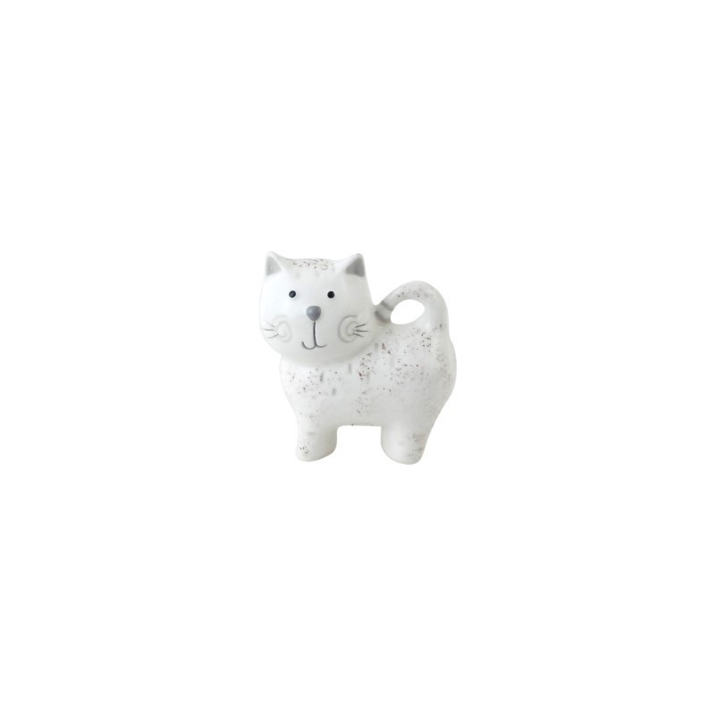 Figura Decorativa Gato Ceramica Blanco 9 cm