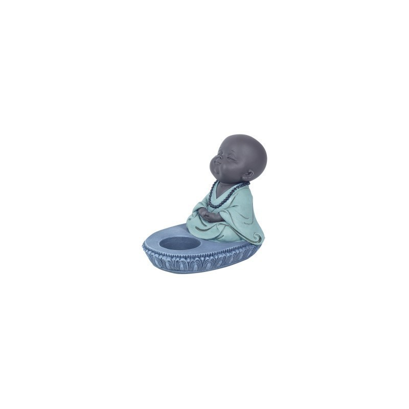 Figura Decorativa Monje Budista Porta Velas 12 cm