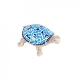 Figura Decorativa Tortuga Azul Resina 12 cm