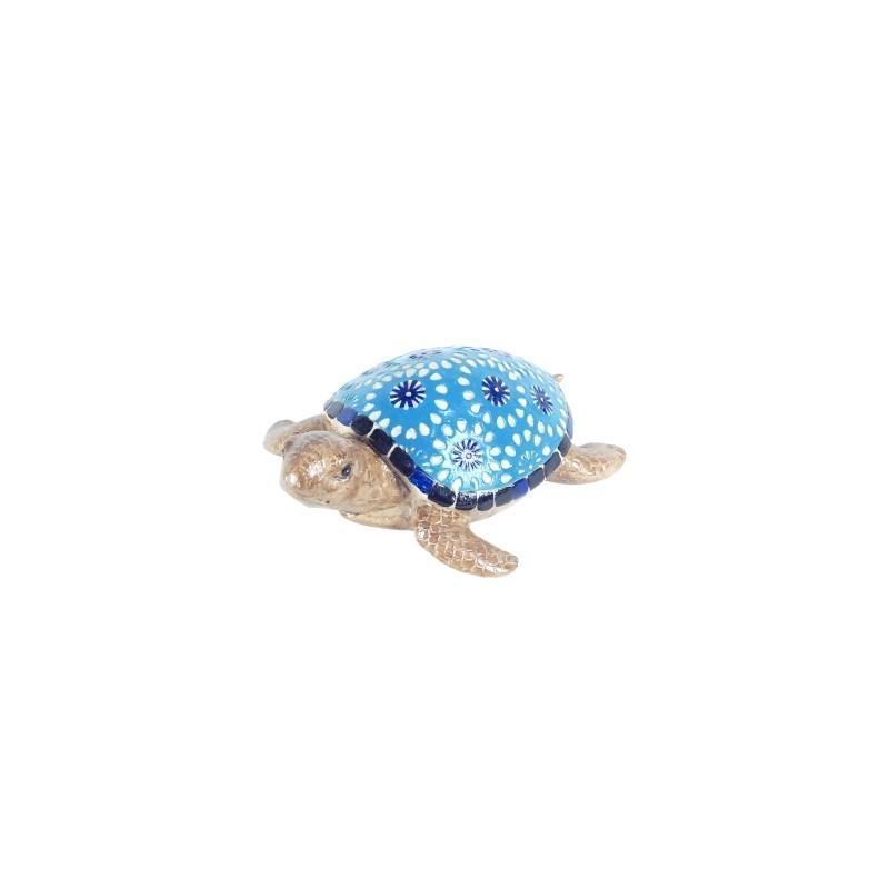Figura Decorativa Tortuga Azul Resina 17 cm