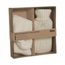 Bolsa de Agua Caliente y Calcetines de Invierno Set de Regalo Blanco 22 cm