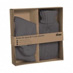 Bolsa de Agua Caliente y Calcetines de Invierno Set de Regalo Gris 22 cm