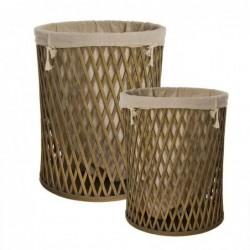 Cesto Ropa Sucia Bambu Juego 2 Unidades Marron 50 cm