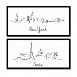 Cuadro Decorativo x2 London New York 38x80 cm