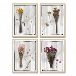 Cuadro Decorativo x4 Flores 30x40 cm