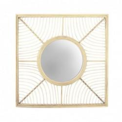 Espejo de Pared Cuadrado Bambu Marron 61 cm