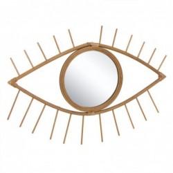 Espejo de Pared Forma de Ojo Bambu Marron 56 cm
