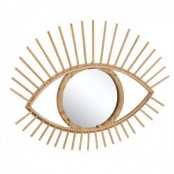 Espejo de Pared Forma de Ojo Bambu Marron 59 cm