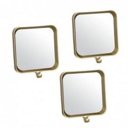 Espejo de Pared Juego 3 Unidades Rectangular Plastico Dorado 22 cm