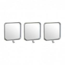 Espejo de Pared Juego 3 Unidades Rectangular Plastico Gris 22 cm