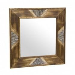 Espejo de Pared Madera Etnico Marron 40x40 cm