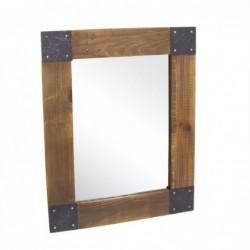 Espejo de Pared Madera Industrial Marron 50x60 cm