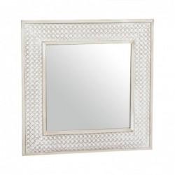 Espejo de Pared Madera Rustico Marron 40x40 cm