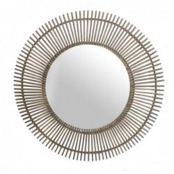 Espejo de Pared Redondo Bambu Marron 110 cm