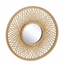 Espejo de Pared Redondo Bambu Marron 50 cm