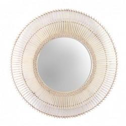 Espejo de Pared Redondo Bambu Marron 80 cm