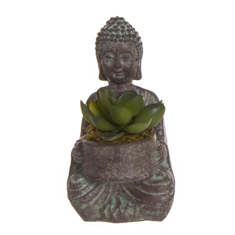 Figura Decorativa Buda con Planta Resina Marron 14 cm