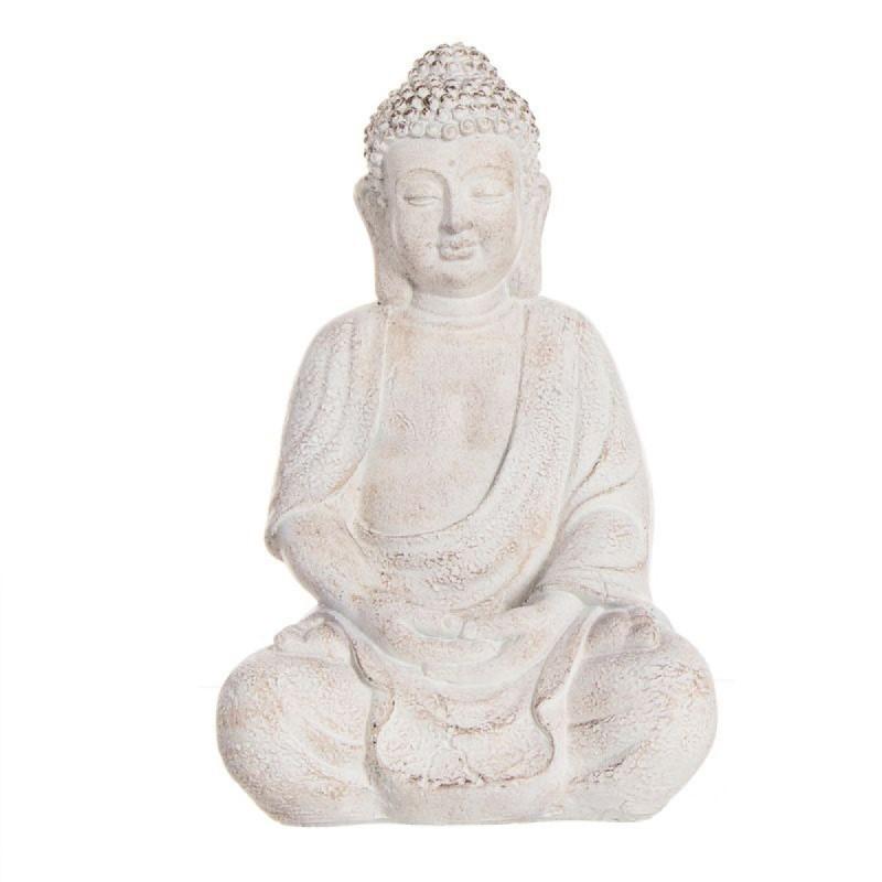 Figura Decorativa Buda Resina Blanco 28 cm