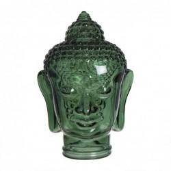 Figura Decorativa Cabeza Buda Vidrio Verde 30 cm