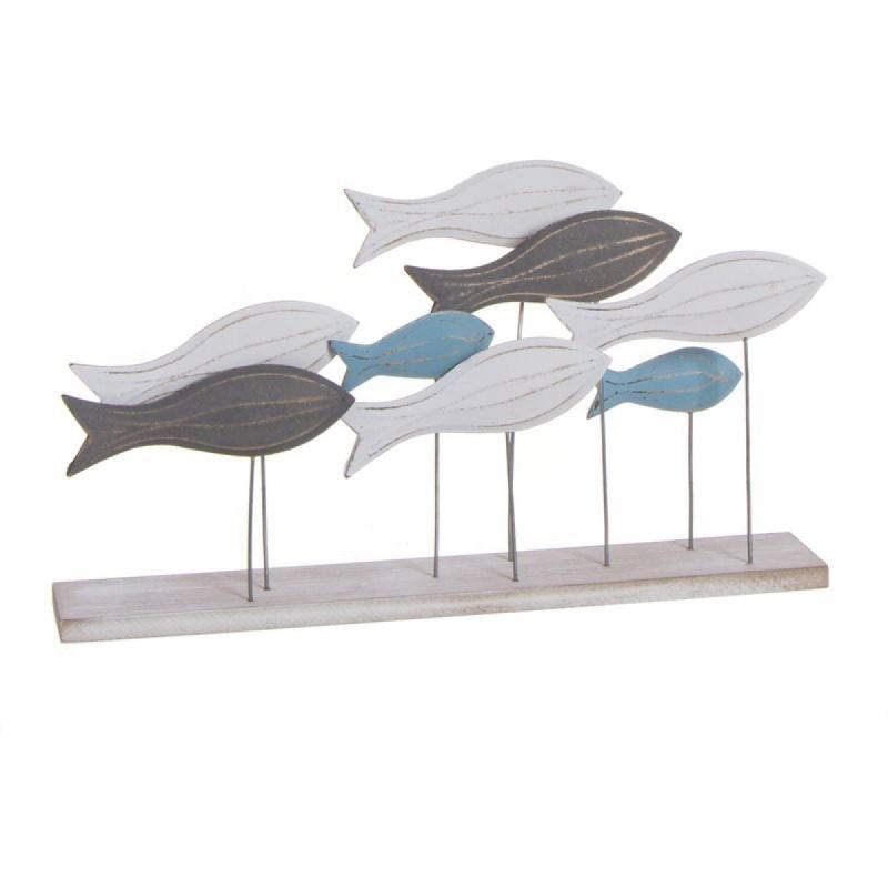 Figura Decorativa Con Peana Peces Mediterraneo 40 cm
