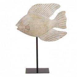Figura Decorativa con Peana Pez Resina Blanco 34 cm