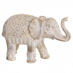 Figura Decorativa Elefante India Resina Blanco 26 cm