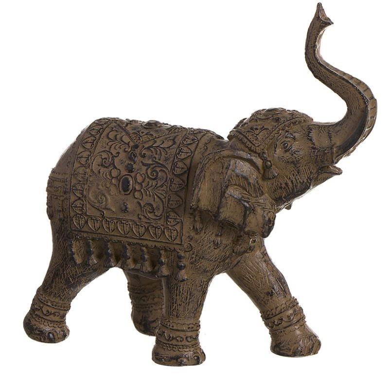 Figura Decorativa Elefante India Resina Marron 27 cm