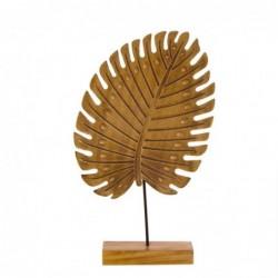 Figura Decorativa Hoja en Peana Marron Madera 29 cm