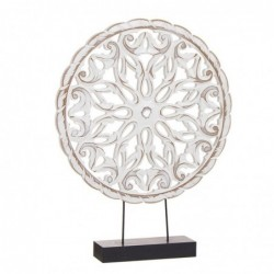 Figura Decorativa Peana Panel Floral Madera Blanca 30 cm
