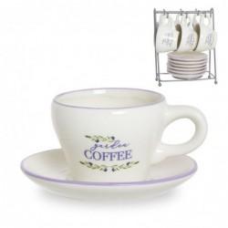 Juego Café 6 Tazas y 6 Platos 100 ml Olivos