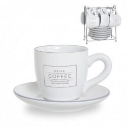 Juego Café 6 Tazas y 6 Platos 200 ml Blanco