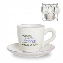 Juego Café 6 Tazas y 6 Platos 200 ml Olivos