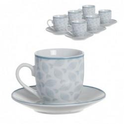 Juego Café 6 Tazas y 6 Platos 90 ml Mediterraneo