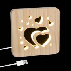 Lampara Led Cable USB Madera Corazones 19 cm