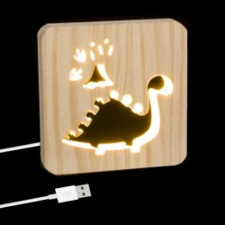 Lampara Led Cable USB Madera Dino 19 cm