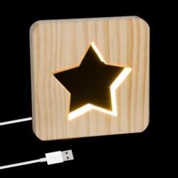 Lampara Led Cable USB Madera Estrella 19 cm
