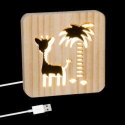 Lampara Led Cable USB Madera Jirafa 19 cm