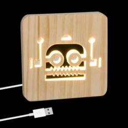 Lampara Led Cable USB Madera Robot 19 cm