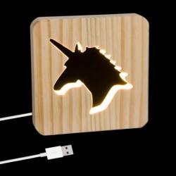Lampara Led Cable USB Madera Unicornio 19 cm