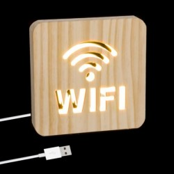 Lampara Led Cable USB Madera Wifi 19 cm