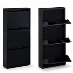 Mueble Zapatero Metal Negro 106 cm 3 Cajones Armario Organizador Calzado Estantes