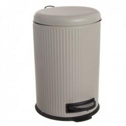 Papelera Cubo de Basura con Pedal 20 Litros Cierre Lento Crema 43 cm