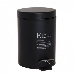 Papelera de Baño Cubo de Basura Negro ETC 3 Litros 24 cm