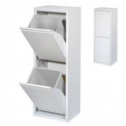 Papelera de Reciclaje Metalica Blanca 98 cm 2 Cajones Cubo de Basura Contenedor de Cocina para Reciclar 2 Compartimentos