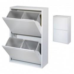 Papelera de Reciclaje Metalica Blanca 98 cm 4 Cajones Cubo de Basura Contenedor de Cocina para Reciclar 4 Compartimentos