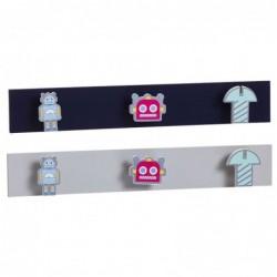 Perchero para Habitacion Infantil x2 Robots 50 cm