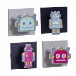 Perchero para Habitacion Infantil x4 Robots 8 cm