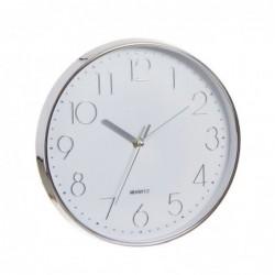 Reloj de Pared Redondo Cromado Blanco 25 cm