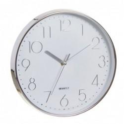 Reloj de Pared Redondo Cromado Blanco 30 cm